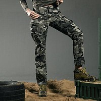 Military Style Camouflage Women's Pants High Quality Mid Waist Cargo Camouflage Army Green Leisure Trousers Capris