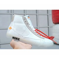 Nike Blazer Mid X Off White New Popular Women Men Casual High Top Flat Sport Shoes Sneakers White I-A-FJGJXMY