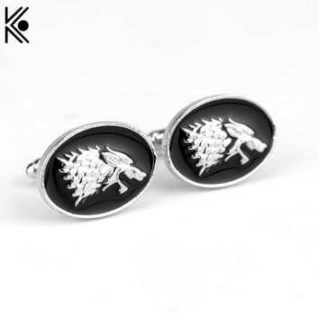 Top Grade Game Of Thrones Stark Wolf Head Cuff Links Black Enamel Shirt Brand Cuff Buttons for men's best gift