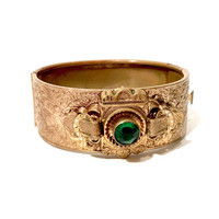 Antique Victorian Bracelet, Engraved, Ornate Floral Design, Brass Hinged Bangle, Mounted Plaque, Green Stone, Faux Seed Pearls, Vintage Gift