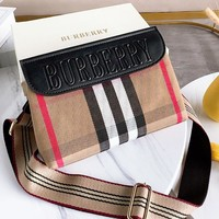 BURBERRY New Popular Women Men Classic Plaid Canvas Satchel Crossbody Shoulder Bag