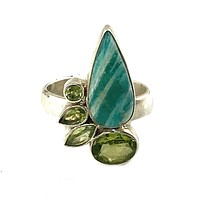 Amazonite & Peridot Sterling Silver Ring