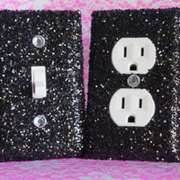 SET Chunky Black Glitter Swichplate Outlet Covers ALL STYLES