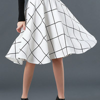 White Plaid Print High Waist Skater Midi Skirt