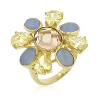 Multi-cubic Zirconia Floral Golden Ring, size : 09