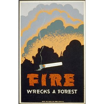 Fire Wrecks a Forest WPA Posters//WPA Poster//US History Poster//Vintage Posters//Vintage State Poster//Wall Art