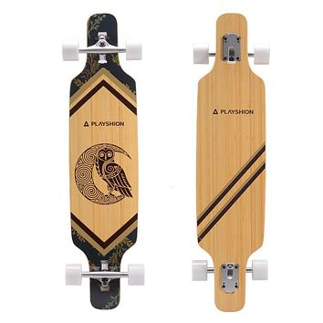 Playshion Drop Through Freestyle Longboard Skateboard Cruiser Bamboo 2