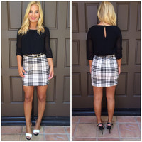 Sydney 3/4 Sleeve Plaid And Black Dress