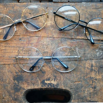 Oversized Clear Round Sunglasses Vintage Circle Glasses - Janis
