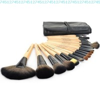 Roll up Case Cosmetic Brushes Kit 24 PCS Pro Wooden Handle Makeup Brush Tool (Wood):Amazon:Beauty