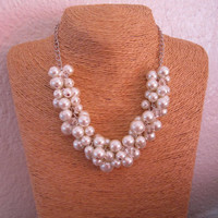 Ivory Pearl Necklace, Beaded Bridesmaid Necklace,  Pearl Cluster Necklace, Bridal Jewelry