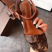 LV Louis Vuitton full-printed letters, sandals slippers high heels Shoes