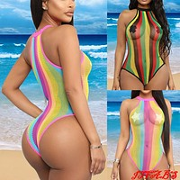 Hirigin Sexy Fishnet Hollow Out Women Swimwear One Piece Swimsuit 2019 Halter Bikini Cover Up Rainbow Stripes Women Bathing Suit
