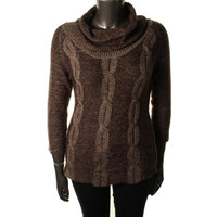 NY Collection Womens Marled Cable Knit Tunic Sweater