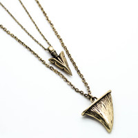 Shark tooth & spear layer necklace