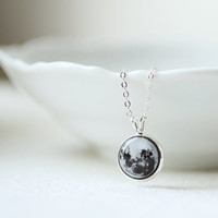 Full Moon Petite Necklace - Astronomy jewelry - Space - Short Necklace