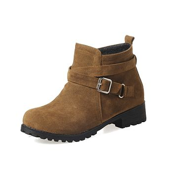 Fall and Winter Low-heeled Short Boots Women Shoes