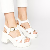 River Island Portie Strap White Heeled Sandals
