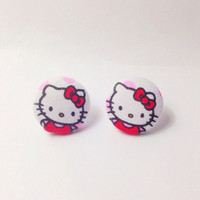 Handmade Hello Kitty Red with White Background Fabric Earrings 7/8 inch