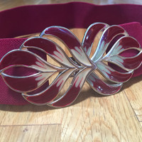 Vintage Belt Maroon Red Purple Stretch Belt Vintage Elastic Belt, Metal Leaf Buckle