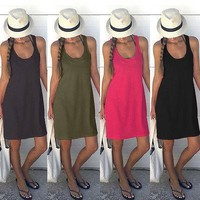 Womens Summer Dresses 2017 Summer Casual Sleeveless Mini Party Dresses Sexy Club Casual Vintage Beach basic Sun Dress Plus Size