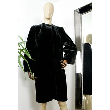 Vintage Plush Faux Fur Cocoon Coat