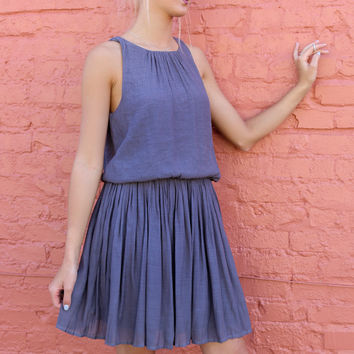 Windsor Castle Charcoal Gauze Dress With Pleated Skirt & Keyhole Back