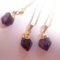 Amethyst Point Necklace - Raw Amethyst - Amethyst Pendant - Purple Crystal - Crystal Quartz - February Birthstone - Healing Crystal
