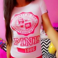Fashion Online Victoria's Secret Pink Fashion Print Short Sleeve T-shirt Top Tee