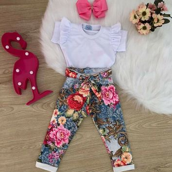 US 2PCS Toddler Kids Baby Girl Summer Clothes Ruffle T-Shirt Flower Pants Outfit