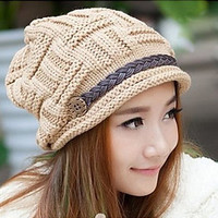 Women's Knit Newsboy Hat, Brimmed Crochet Hat, Fall Accessories, Choice of Colors