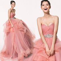 Ball Gown Sweetheart Strapless CourtTrain Tulle Pleat Tiered Sexy Backless Wedding Dress # 6009878