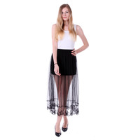 Black Double Layer Maxi Chiffon Skirt with Lace Trim