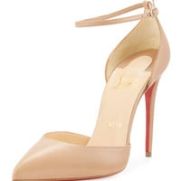 Uptown dOrsay 100mm Red Sole Pump, Nude
