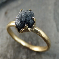 Raw Diamond Solitaire Engagement Ring Rough Uncut gemstone gold Conflict Free Black Diamond Wedding Promise by Angeline