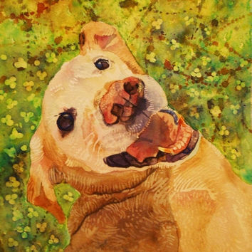 Yellow Lab watercolor print. Dog painting. Pet portrait. Watercolor animal. Dog watercolor. Dog wall art. Watercolor art. Dog picture.