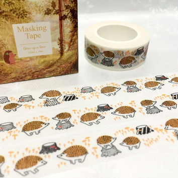 hedgehog washi tape 10M porcupine echidna deco masking tape little forest animal sticker tape removable adhesive gift wrapping tape