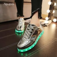 7ipupas shining luminous led shoe boy girl with light sole kid light up sneakers led unisex usb charging silver glowing sneakers