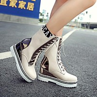 New Arrival Fashion Thick Warm Plush Inside Lace Up Wedges Half Boots Height