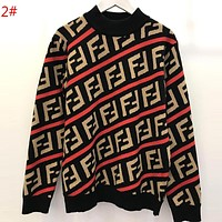 FENDI Autumn Winter Popular Women Men FF Letter Jacquard Long Sleeve Knit Sweater Pullover Top 2#