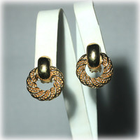 Christian Dior, Goldtone, Earrings, Twisted Rope, Wreath Design, Designer Signed, Dior Earrings,