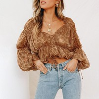 Vintage ruffled chiffon blouse women Elastic high waist female short tops shirt Puff sleeve print ladies blouses