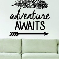 Adventure Awaits Feather and Arrow Design Decal Sticker Wall Vinyl Art Words Decor