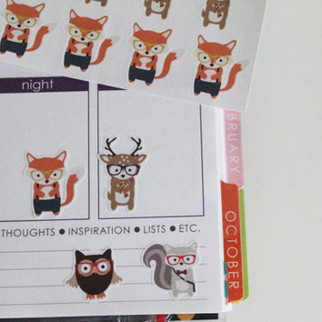 24 Woodland Animal Stickers Life Planner Stickers Scrapbook Stickers Fox Stickers Deer Stickers Owl Stickers Squirrel Stickers