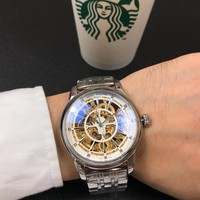 DCCK P012 Patek Philippe Geneve Automatic Machinery Hollow Steel Strap Watches Sliver White Gold