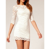 Slim White Lace Mini Dress (Run Small, Choose one size larger to your normal size)