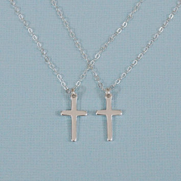 Mother Daughter Cross Necklace, Mother Daughter Necklace Set, Silver Cross Necklace, Mother Daughter Jewelry