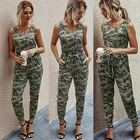 2020 new products women's camouflage vest lace-up knitted jumpsuit