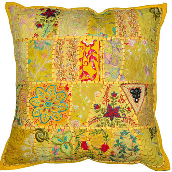 """24"""" Large Vintage Embroidered Patchwork Pillow, Decorative Throw pillow cover, Indian Ethnic Outdoor Pillow, tribal Handmade sofa pillow"""