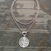 St. Benedict Silver Chain Religious Medal Coin Necklace